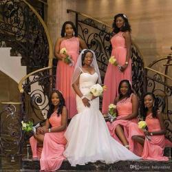 Gracious Wedding Guests Maid 2017 Africa Black Girl Coral Bridesmaid Dresses One Shoulder Lengthlong Honor Gowns Teenage Bridesmaid Dressestulle 2017 Africa Black Girl Coral Bridesmaid Dresses One Sho