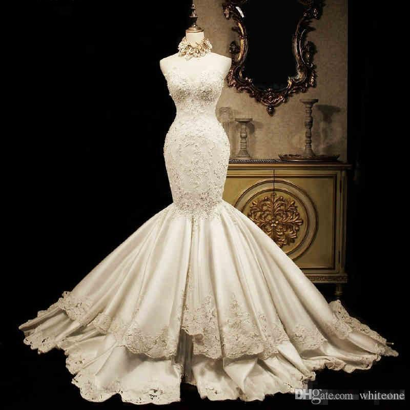 Lace Mermaid Wedding Dresses 2017 Sweetheart Luxury Fish Tail Slim