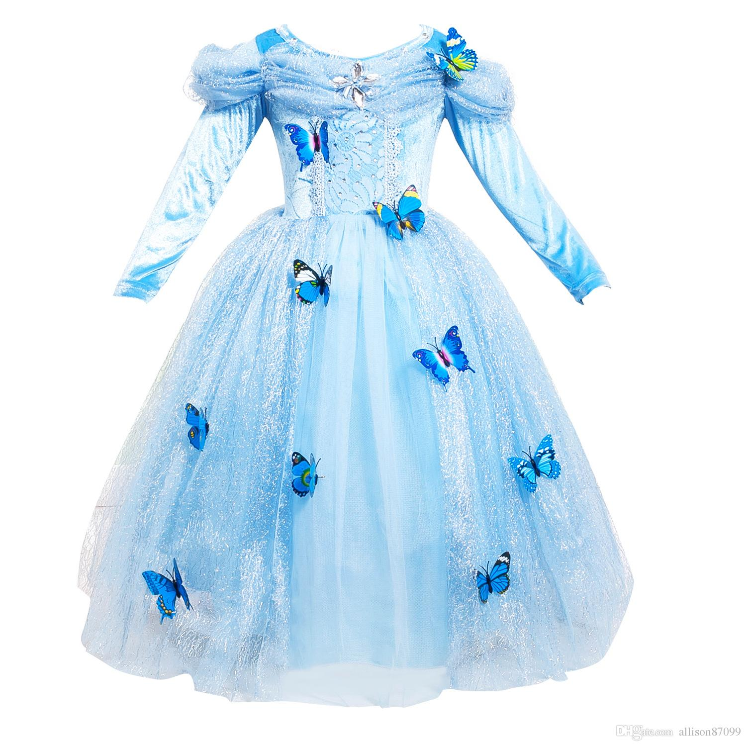 Divine Discount Students Gift Girls Dress Cosplay Princess Dresses Longsleeve Butterfly Party Birthday Gifts Puff Sleeve Blue 2017 Winter Fromchina Discount Students Gift Girls Dress Cosplay Princess gifts Gift For Girls