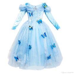 Divine Discount Students Gift Girls Dress Cosplay Princess Dresses Longsleeve Butterfly Party Birthday Gifts Puff Sleeve Blue 2017 Winter Fromchina Discount Students Gift Girls Dress Cosplay Princess