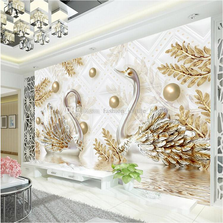 3d Wallpaper For Walls In Karachi Luxury Wallpaper Jewelry Swan Wall Mural Custom 3d