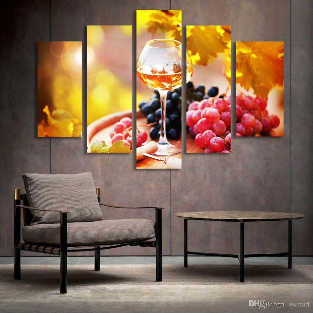 5 Panel Malerei Glas Wein Obst Malerei Leinwand Kunstdrucke Wandbilder Für  Wohnzimmer Küche Esszimmer Dekoration Ungerahmt