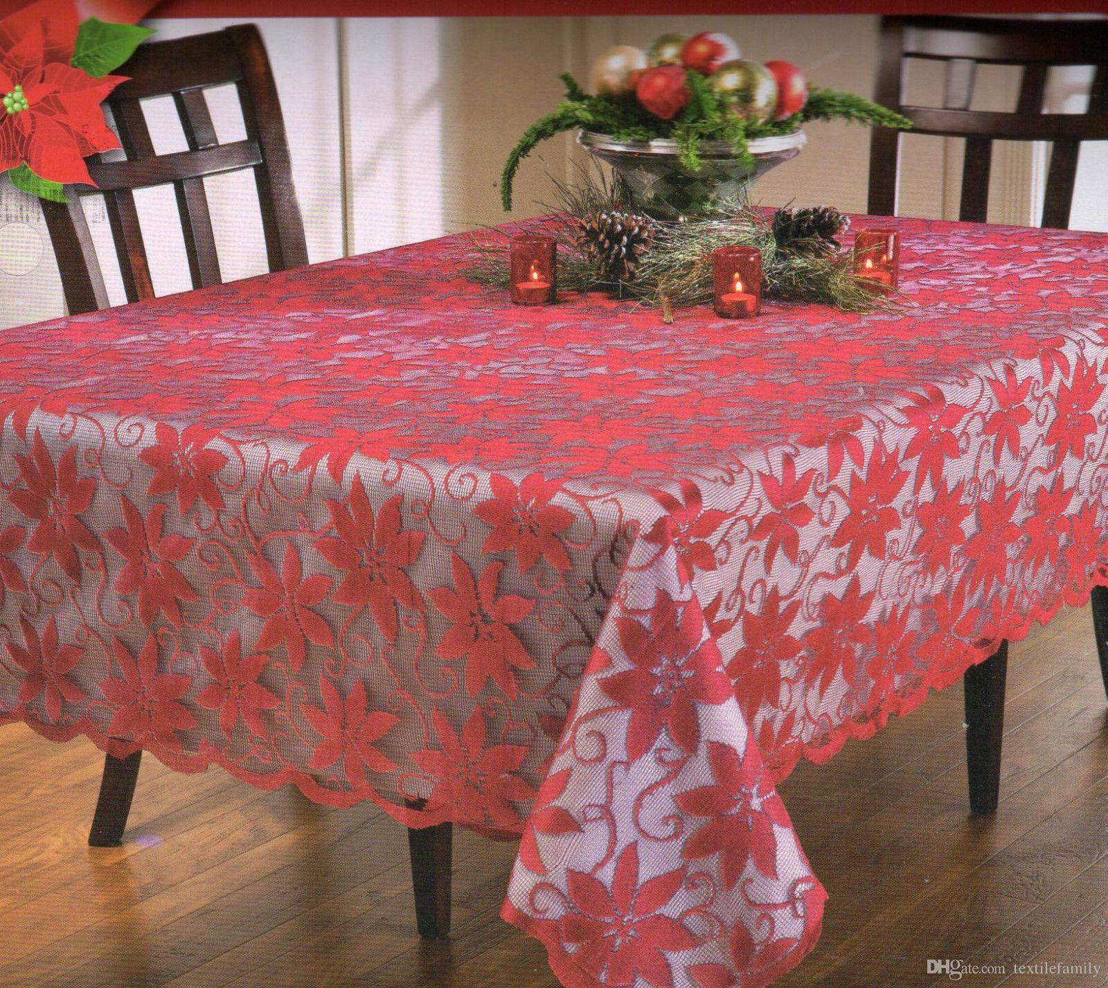 Christmas Tablecloths Australia Christmas Festival Polyester Red Lace Tablecloths Poinsettia Flower Lace Knitted Tablecloths Fashion Hot Design New Free Shipping