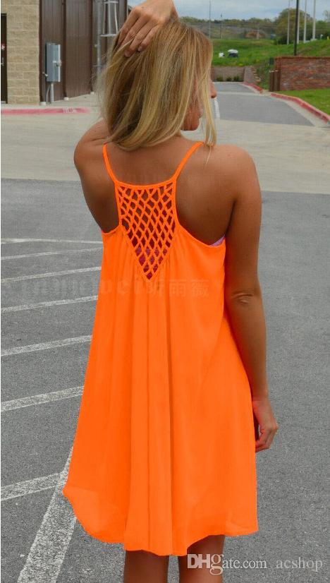 Neon Colored Plus Size Clothing Women Girl Beach Fluorescence Summer Dress Hollow Back