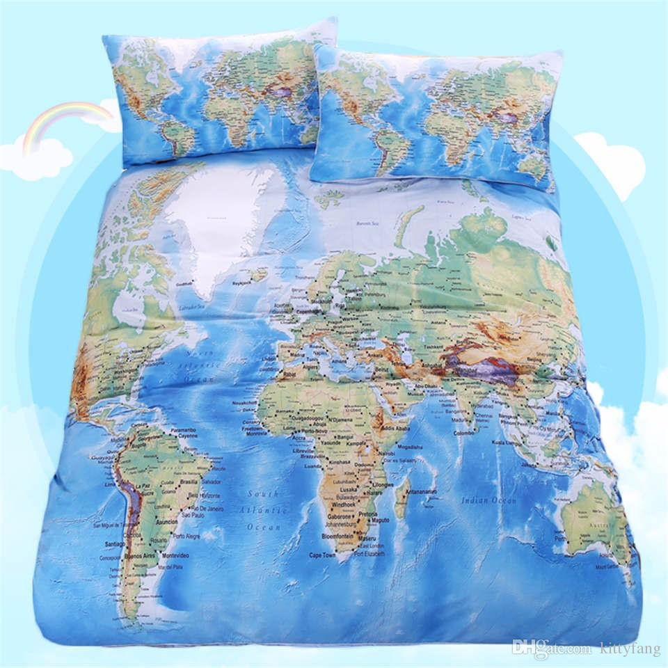 Bettwäsche Jurassic World 2016 World Map Bedding Set Vivid Printed Blue Bed Cover Twill Cozy Home Textiles Multi Sizes 3pcs