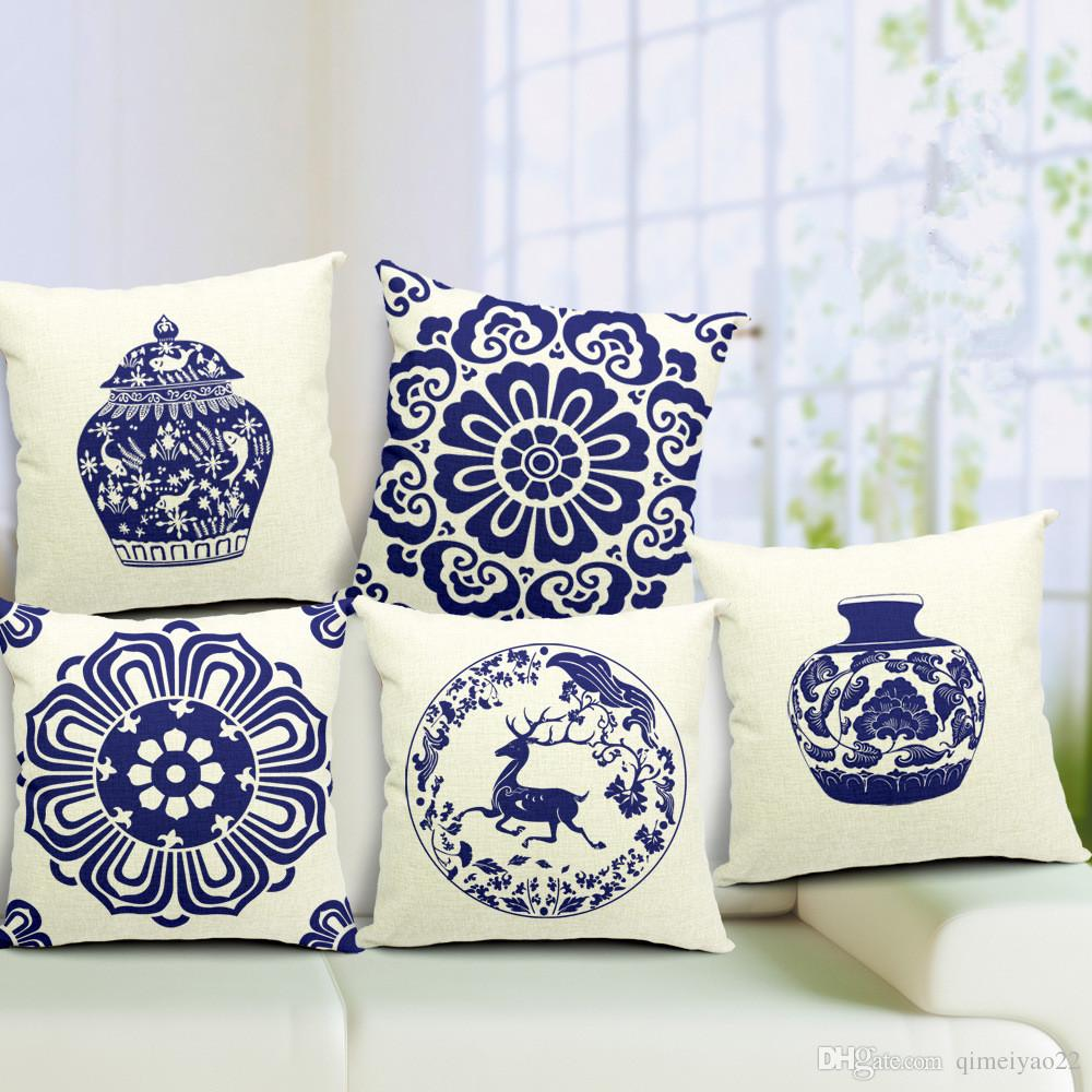 Sofa Throws Retro China Retro Blue And White Porcelain Blue Print Cushion Cover Linen Cotton Pillow Cover 45cm 45cm Square Throw Pillow Cases For Office Sofa