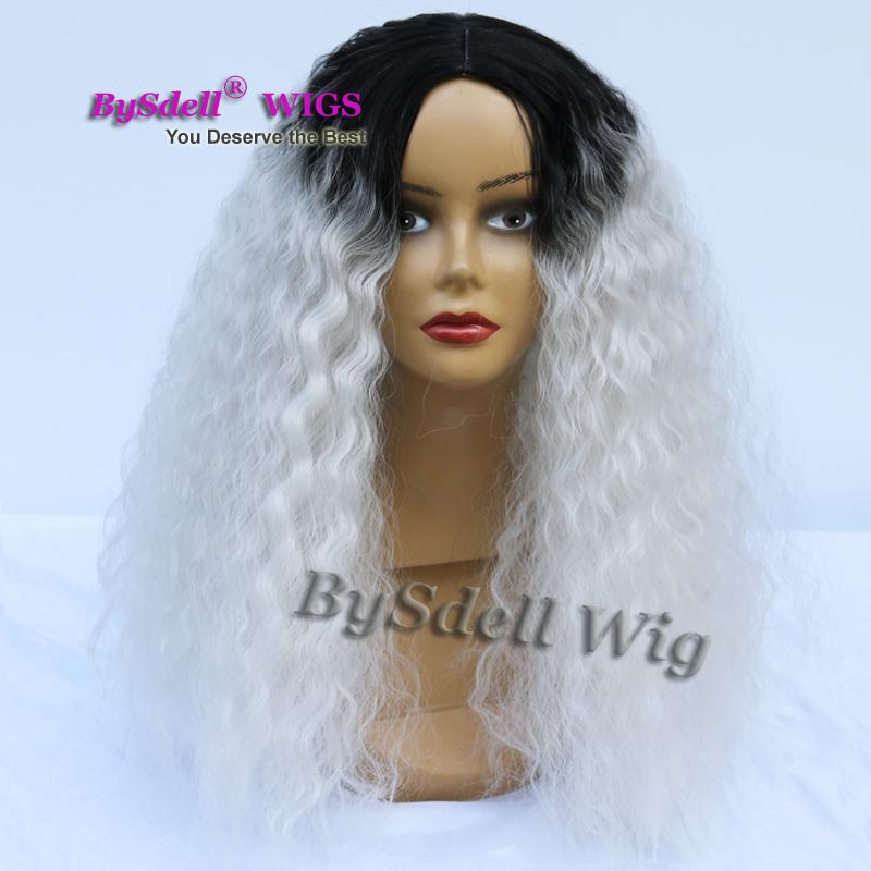 Medium Length Natural Kinky Curly Hair Wig Synthetic Black Root