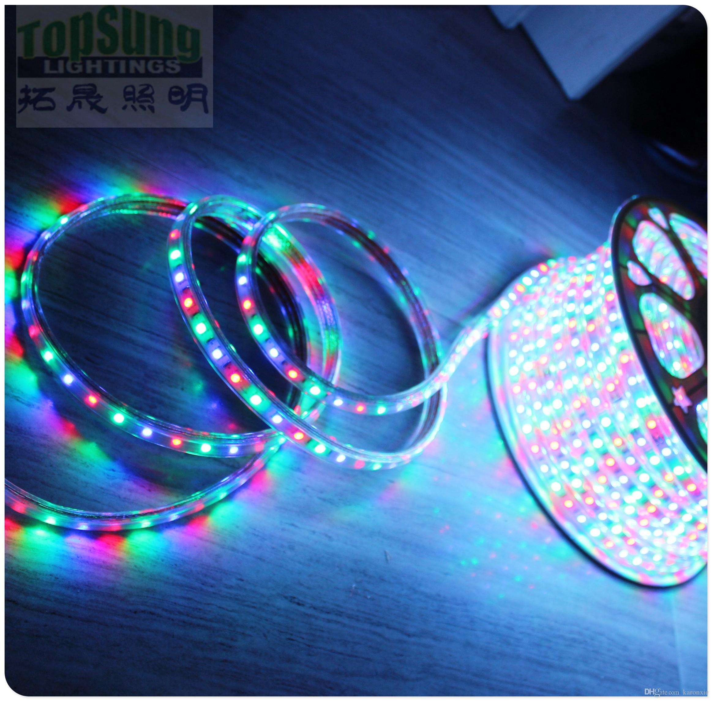 Rgb Led Strip 230v 50m Spool 110v 220v Ac Led Strip Flexible 5050 Smd Rgb Chasing Rope Lights Waterproof 60smd M With Remote Controller