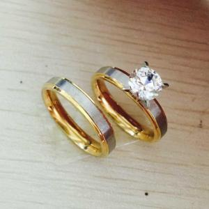 Lovable Menwomen Engagement His Hers Tone G Silver Pearlengagement Never Fade Titanium Steel Cz Diamond Korean Couple Rings Set For Never Fade Titanium Steel Cz Diamond Korean Couple Rings Set