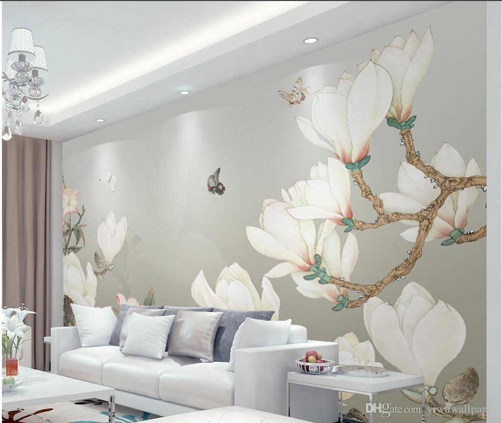 3d Wall Decor Hand Painted Chinese Magnolia Background Wall Decoration Painting Mural 3d Wallpaper 3d Wall Papers For Tv Backdrop