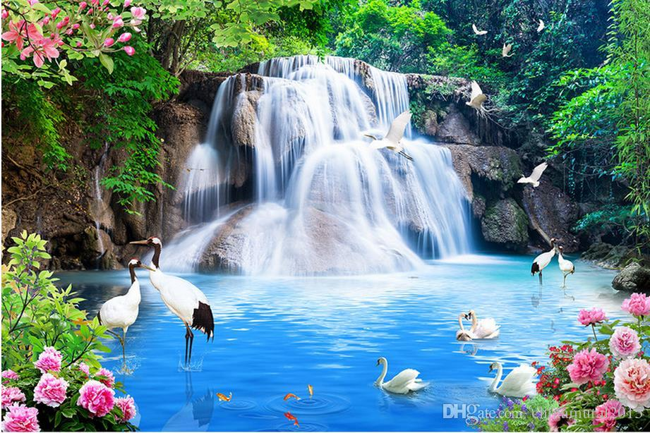3d Flower Mural Wallpaper Scenery Wallpaper Crane Peony Waterfall Water Scenery Wall