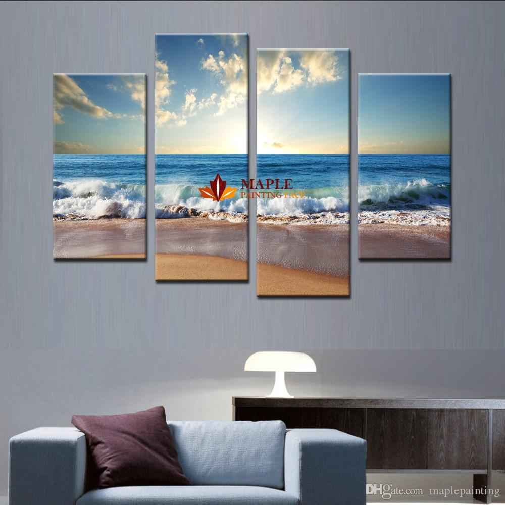 Art Wall 4pcs Large Canvas Art Wall Hot Beach Seascape Modern Wall Painting Home Decorative Art Picture Paint On Canvas Prints Pictures