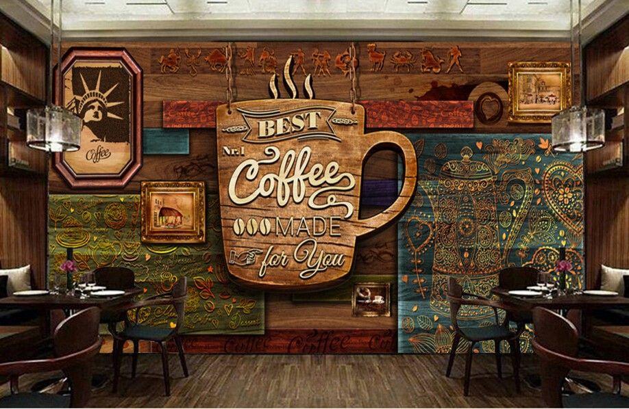3d Brick Wallpaper Philippines Custom Food Store Wallpaper Wood Pattern Coffee 3d Retro