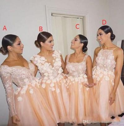 2018 Latest Puffy Short Bridesmaid Dresses Four Different ...