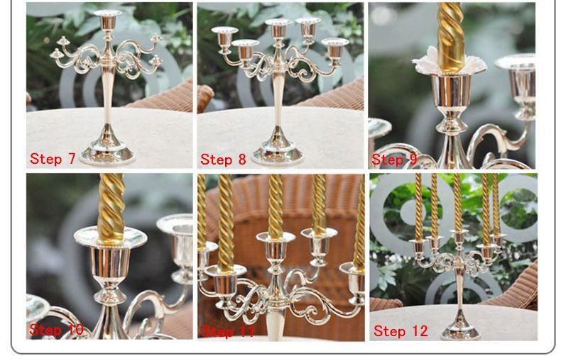 Wholesale Silver Gold Black Bronze Metal Candle Holder 5