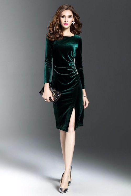Medium Of Long Sleeve Velvet Dress