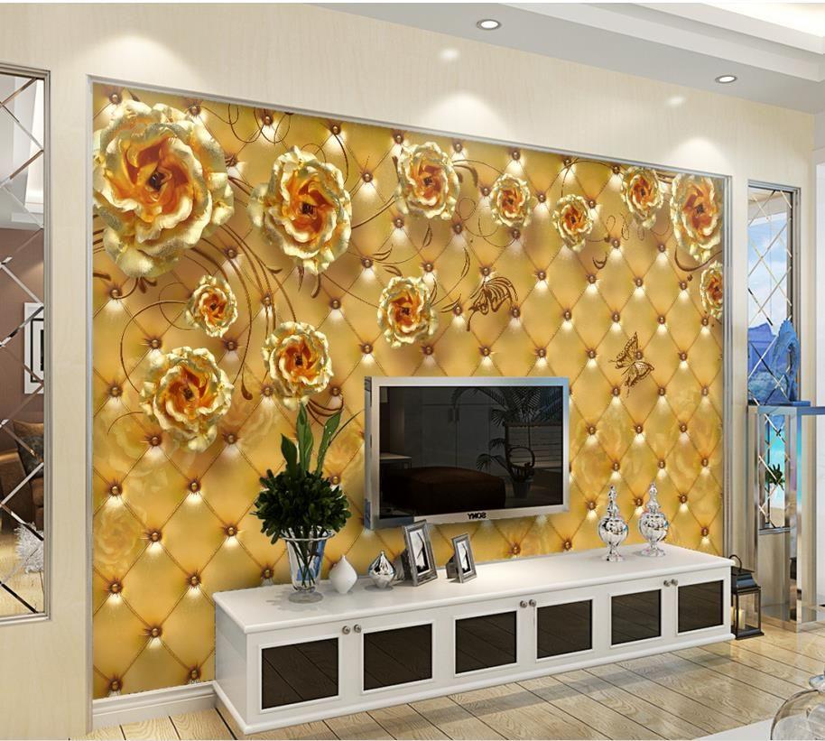 3d Stereoscopic Mural Wallpaper Golden Rose Soft Bag Living Room Bedroom Tv Background