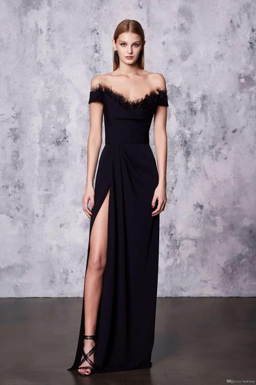 Swanky Bride Prom Bride Prom Dresses Length Short Sleeve Cocktail Evening Gown Custom Made Eveningdresses Sexy Black Evening Dress Heart Front Split Sexy Black Evening Dress Heart Front Split