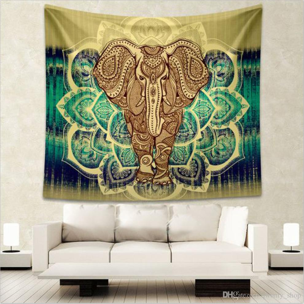 Wandteppich Modern 12 Styles Indian Elephant Tapestry Aubusson Colored Printed Decor Mandala Tapestry Religious Boho Wall Carpet Livingroom Blanket