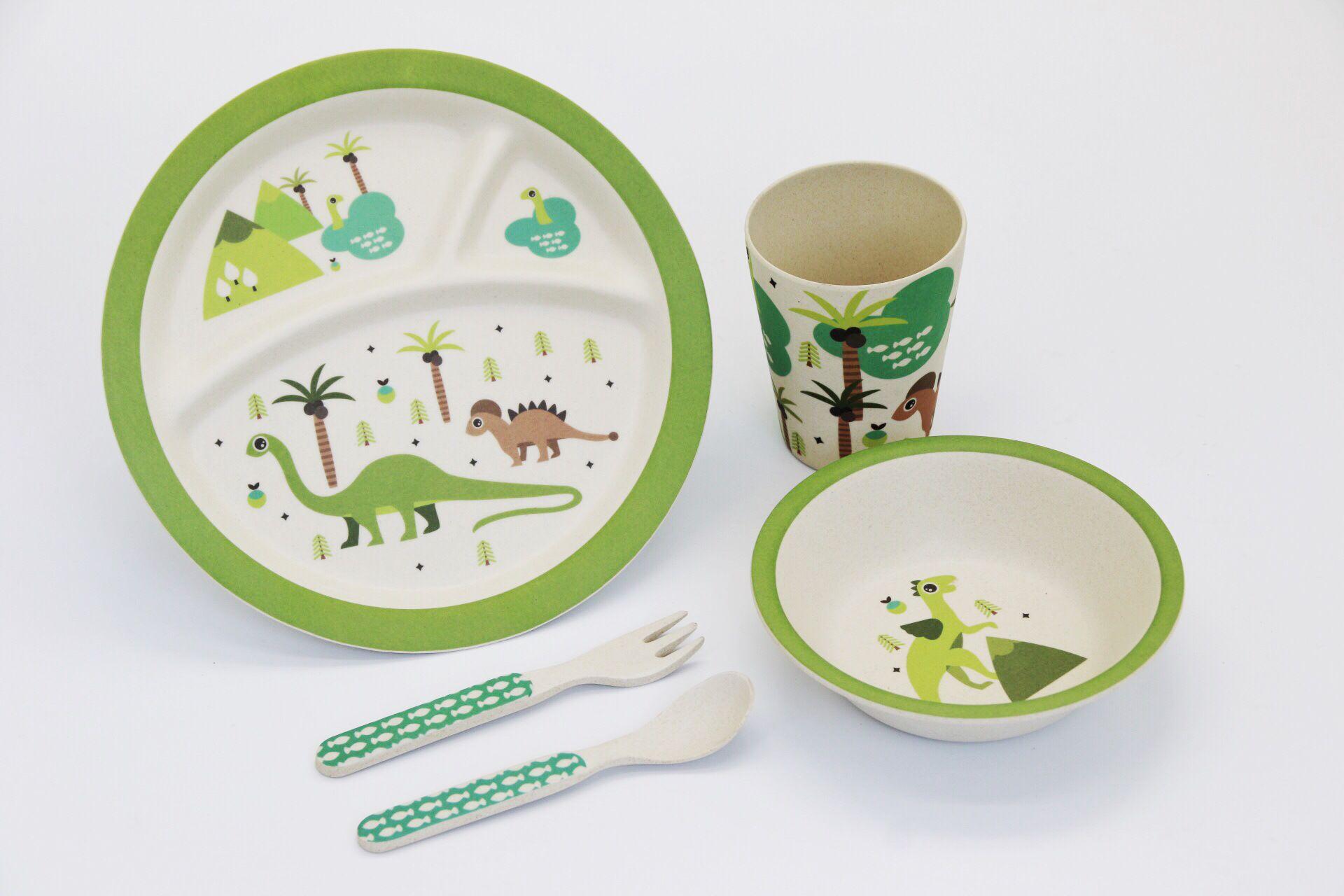 2018 Set Green Dinosaur Print Baby Bamboo Round Dinner