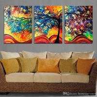 2018 Unframe Wall Art Colourful Trees Canvas Painting Wall ...