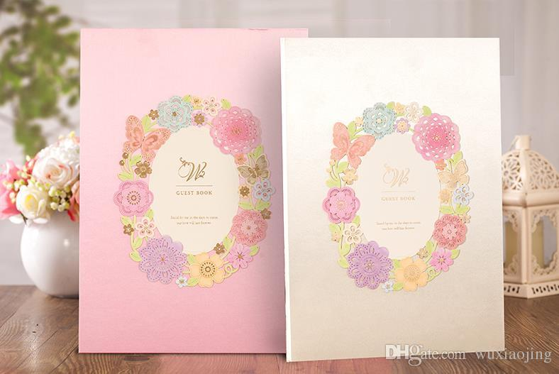 Pink  Light Green Wedding Guest Books Gift Book Hardcover Laser Cut