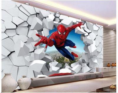 Large Murals 3 D Spiderman, Batman, Iron Man Personality Background Cartoon Wallpaper Wallpaper ...