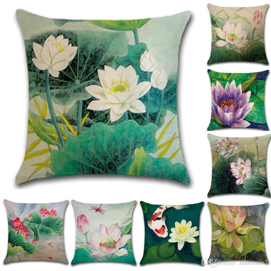 Retro Cushions Vintage Style Decorative Throw Pillows Lotus Flower Cotton Linen Seat Retro Cushion Cover For Sofa Home Decor Funda Cojines 45cm