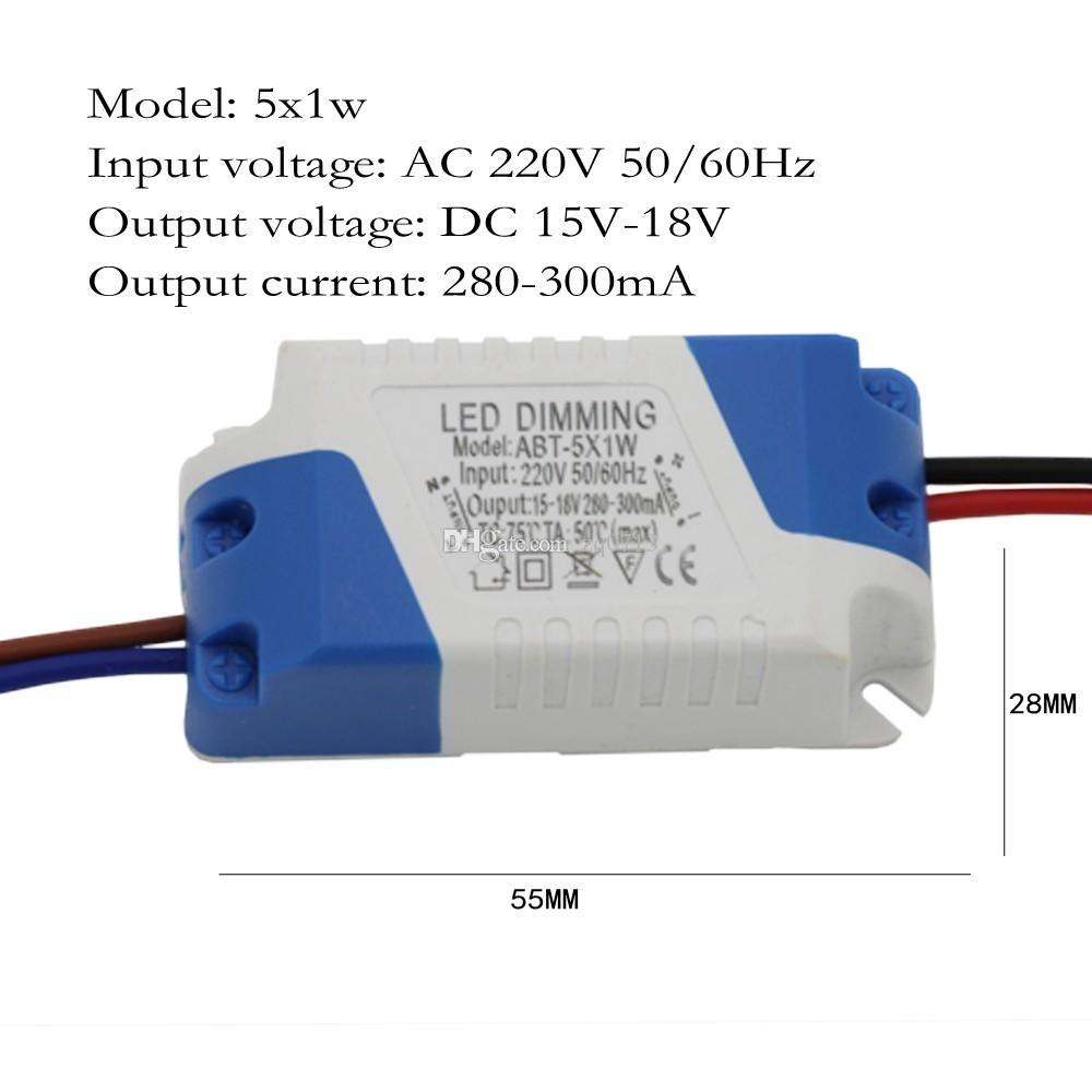 Led 220v Led Dimmer Driver 5x1w 300ma 5w Constant Current Power Supply Ac 110v 220v For Dimmable Led Bulb Ligh