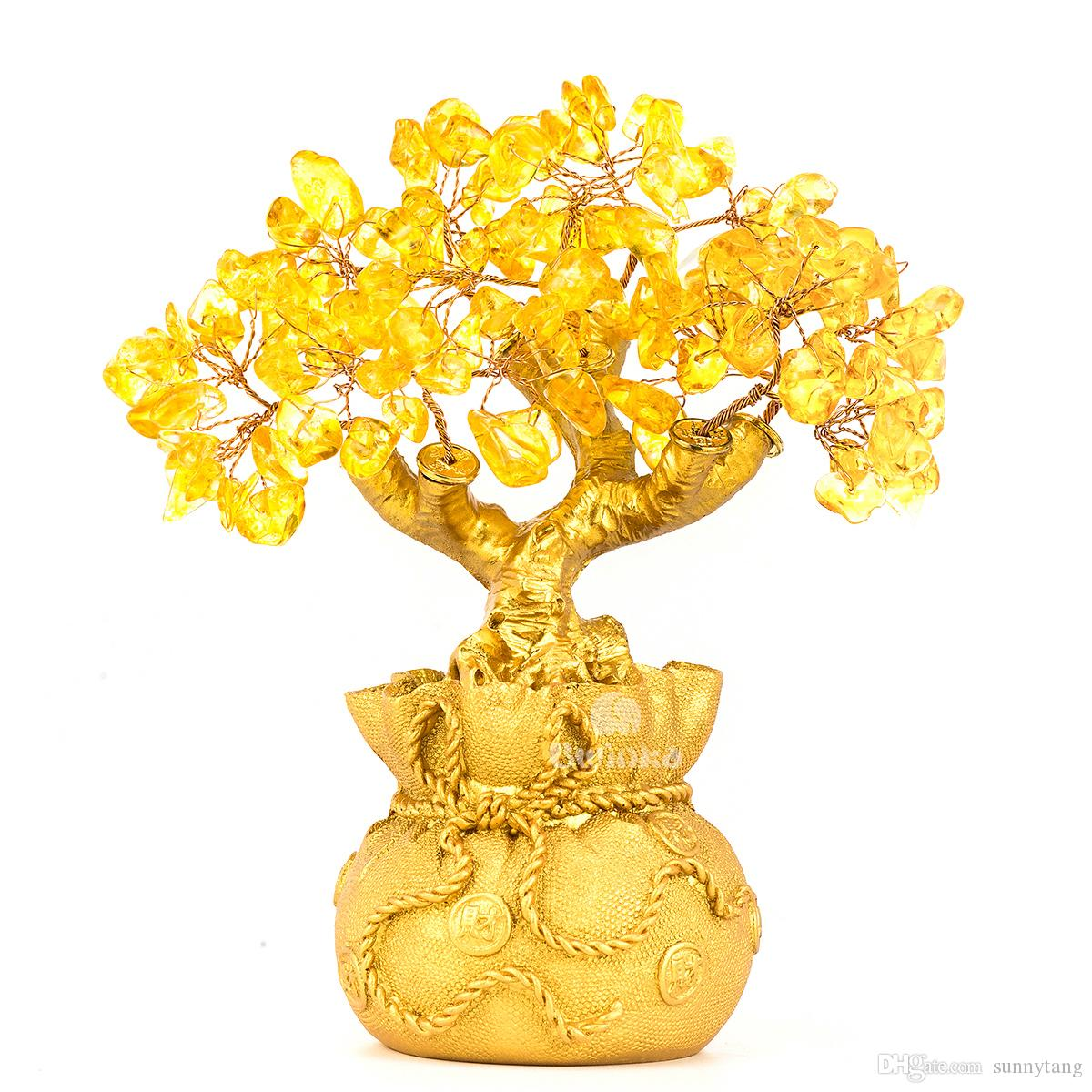Feng Shu Feng Shui Natural Citrine Gem Yellow Crystal Money Tree Office Home Table Office For Wealth Luck Best Gift