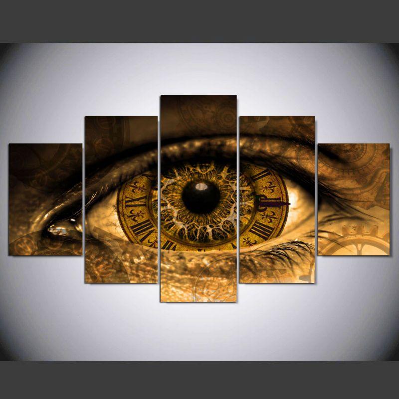 2019 5 Panel Modern Steampunk Eyes Art Print Canvas Art Wall Framed