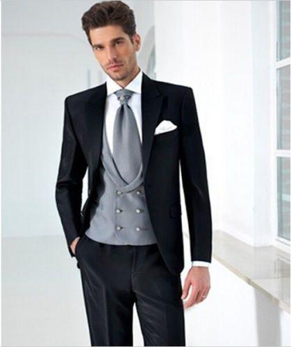 Black Suits Silver Vest Tie White Handkerchief Fashion Men