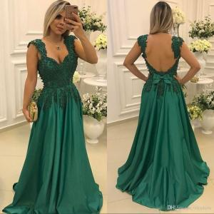 Grand 2017 Sexy Taffeta Hunter Green Lace Applique A Line Long Prom Dressessquare Neck Pearls Backless Formal Evening Party Gowns Custom Made Ballgowns Long 2017 Sexy Taffeta Hunter Green Lace Appliqu