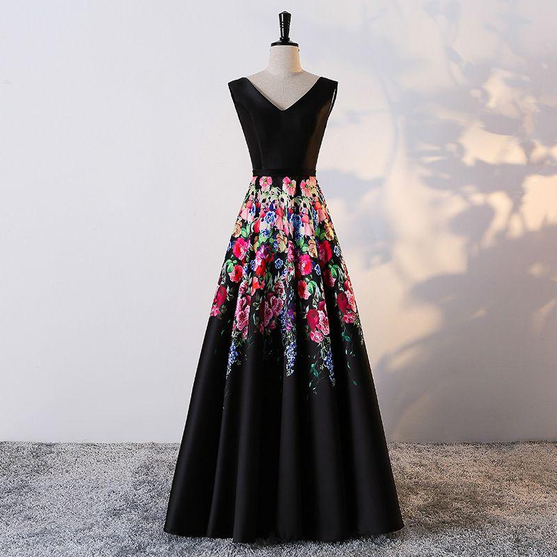 Black Satin Formal Gowns For Girls V Neck Tank A Line Simple Elegant