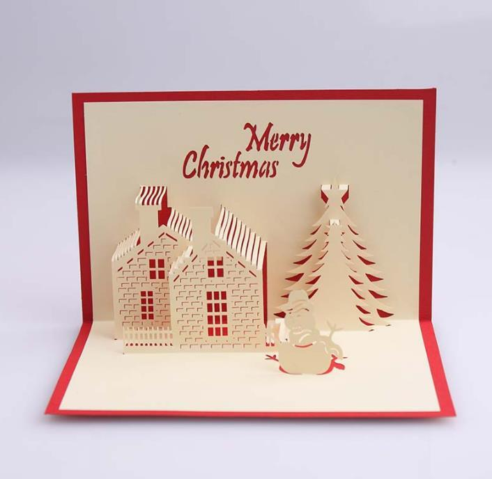 3D Greeting Cards Christmas Handmade Kirigami Origami Creative Merry