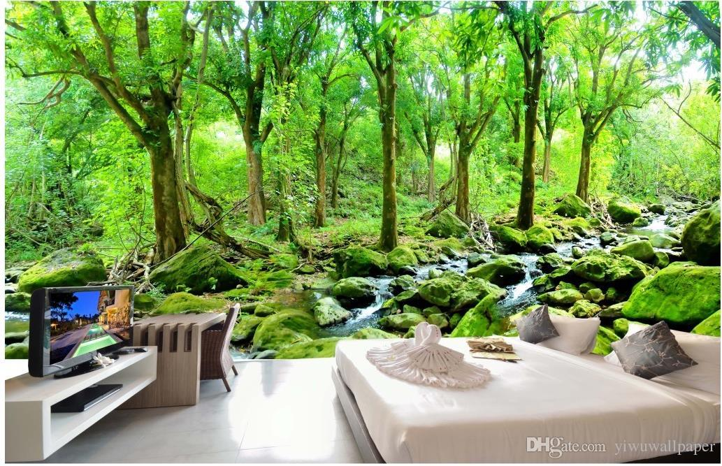 3d Stereoscopic Mural Wallpaper Hd Oil Painting Forest Landscape Background Wall Mural 3d