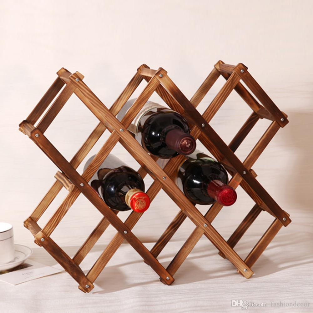 Wooden Bottle Rack Wooden Red Wine Rack 3 6 10 Bottle Holder Mount Bar Display Shelf Folding Wood Wine Rack Alcohol Neer Care Drink Bottle Holders