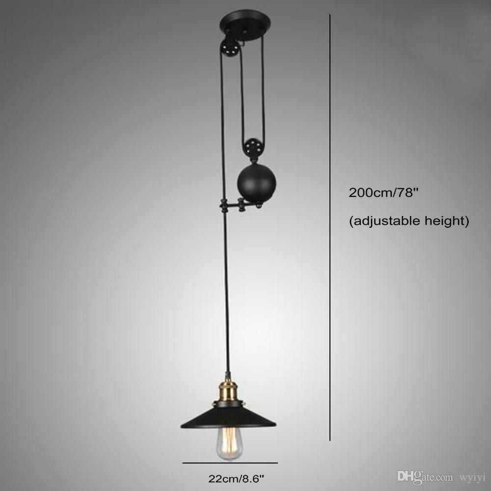 Black Wrought Iron Kitchen Light Fixtures Loft Vintage Retro Wrought Iron Black Chandelier Adjustable Pulley Industrial Lamps E27 Edison Pendant 2lamp Home Light Fixtures