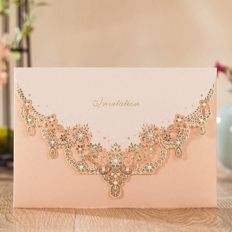 WISHAMDE Engagement Luxury Hollow Flower Wedding Invitations Elegant