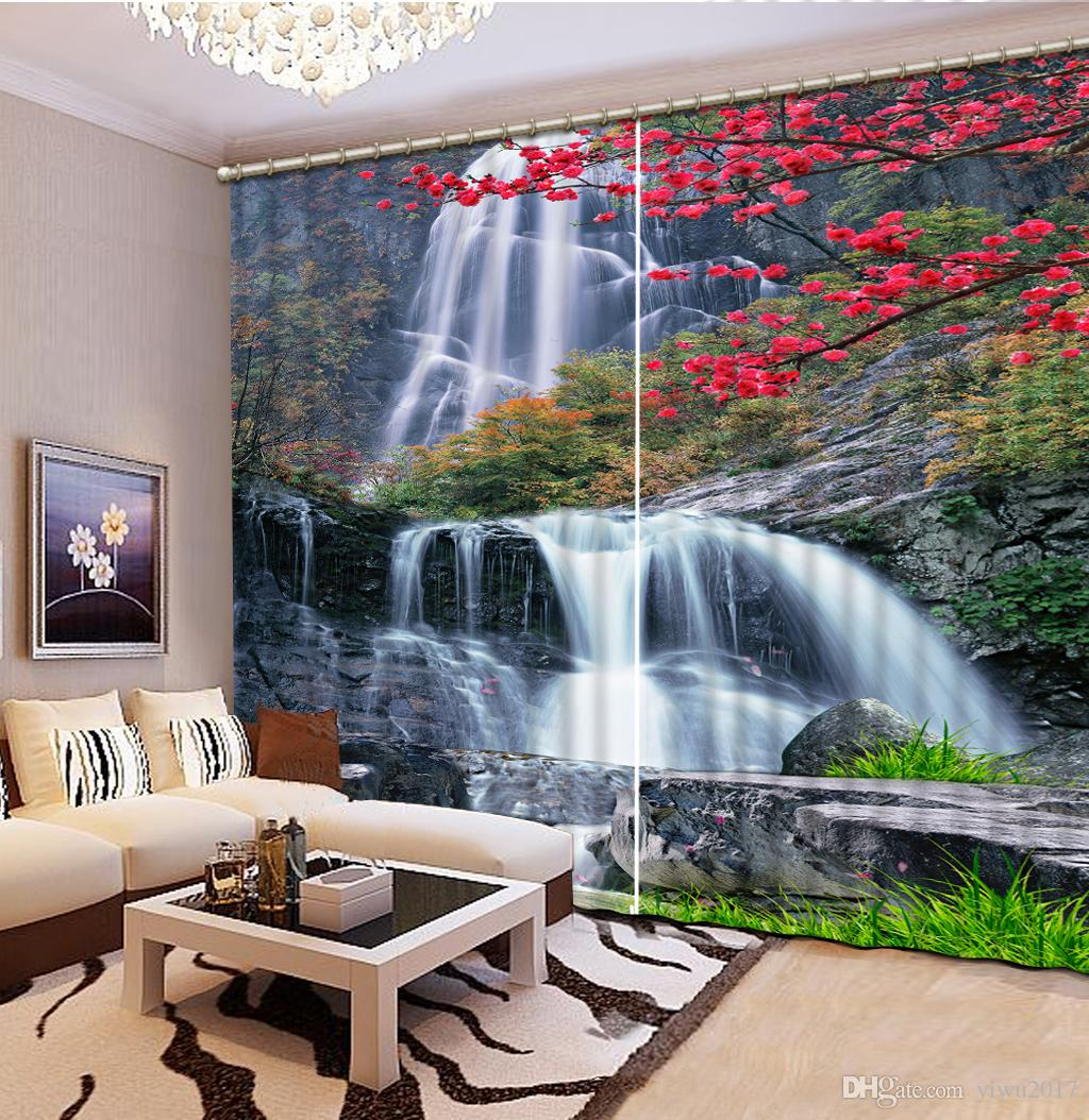 Modern Curtains For Bedroom Modern Curtains Waterfall Landscape Rustic Home Decor Curtain For Living Room Blackout Window Bedroom