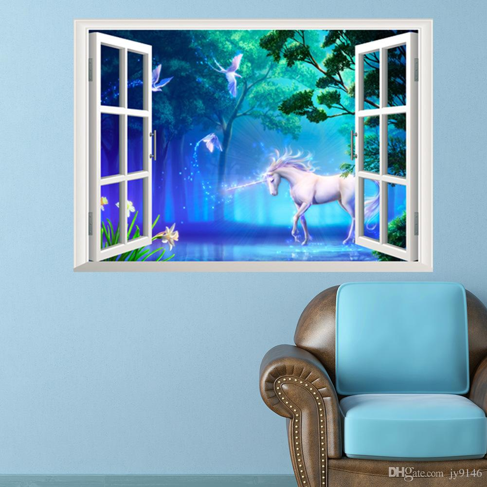 3d Wall Decor Hot Sale Unicorn 3d Wall Decor Sticker Pvc Self Adhesive Mythical Creatures Wallpaper For Living Room Kids Room Decoration