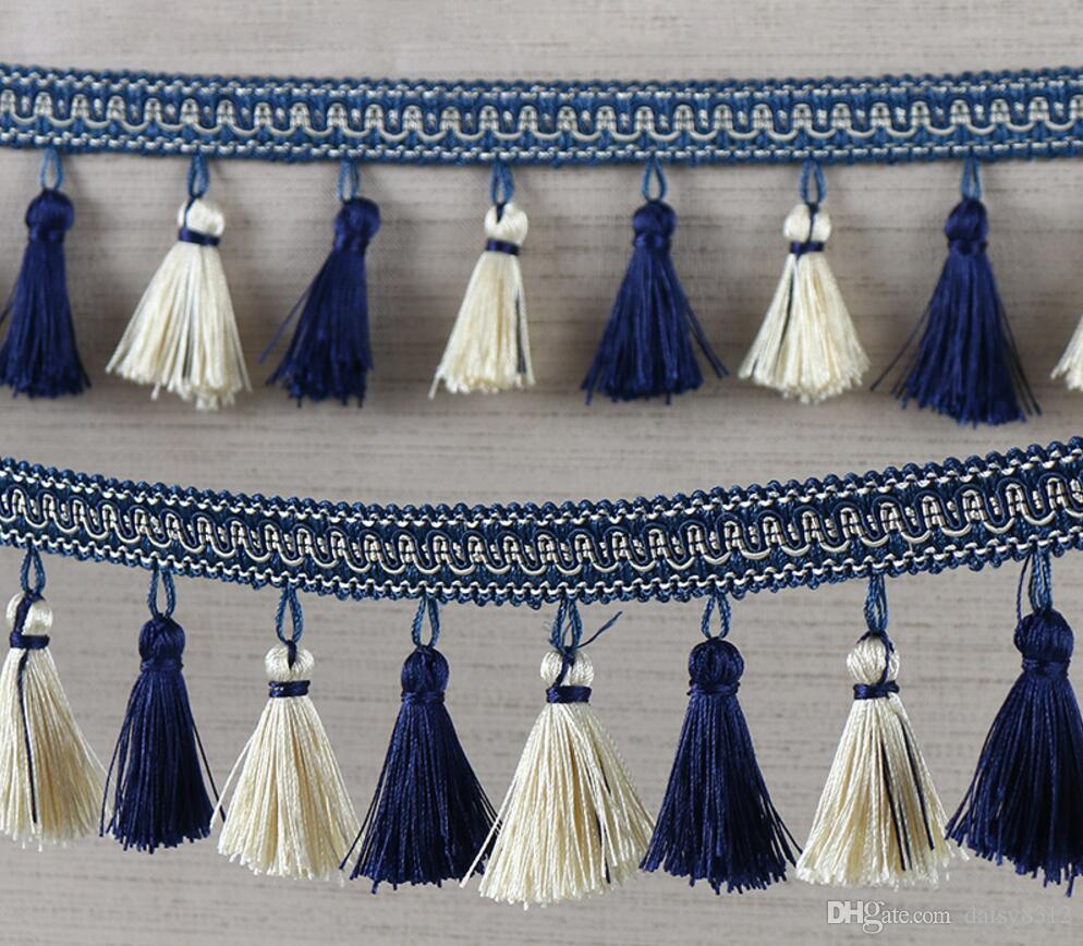Ribbon Trim Curtains 12meter Double Color Tassel Pendant Hanging Lace Trim Ribbon For Window Curtains Wedding Party Decorate Apparel Sewing Diy