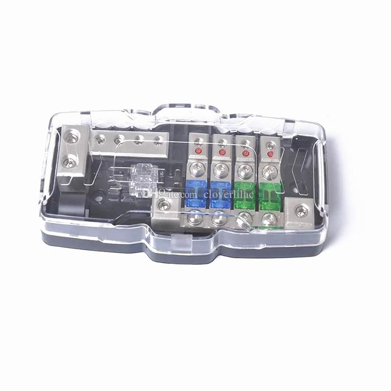 Multi Functional LED Car Audio Stereo Mini ANL Fuse Box With 4 Way