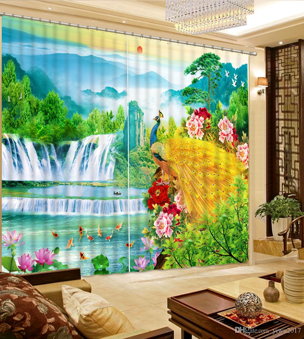 Peacock Living Room 3d Curtains Peacock Window Curtain Living Room Blackout Photo Customize Size 3d Curtain Window Decoration
