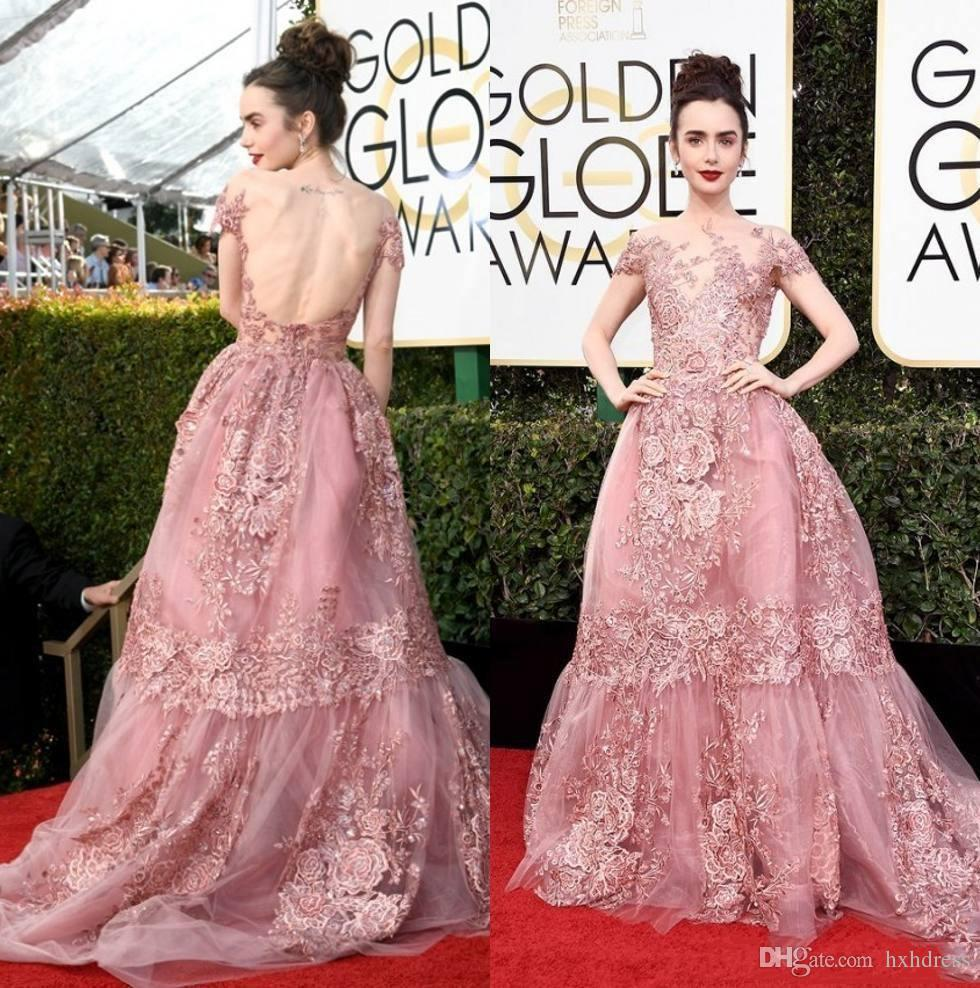 Roter Teppich Kleider 2018 New 74 Golden Globe Awards Lily Collins Zuhair Murad Celebrity Abendkleider Sheer Backless Pink Lace Applicated Roter Teppich Kleider