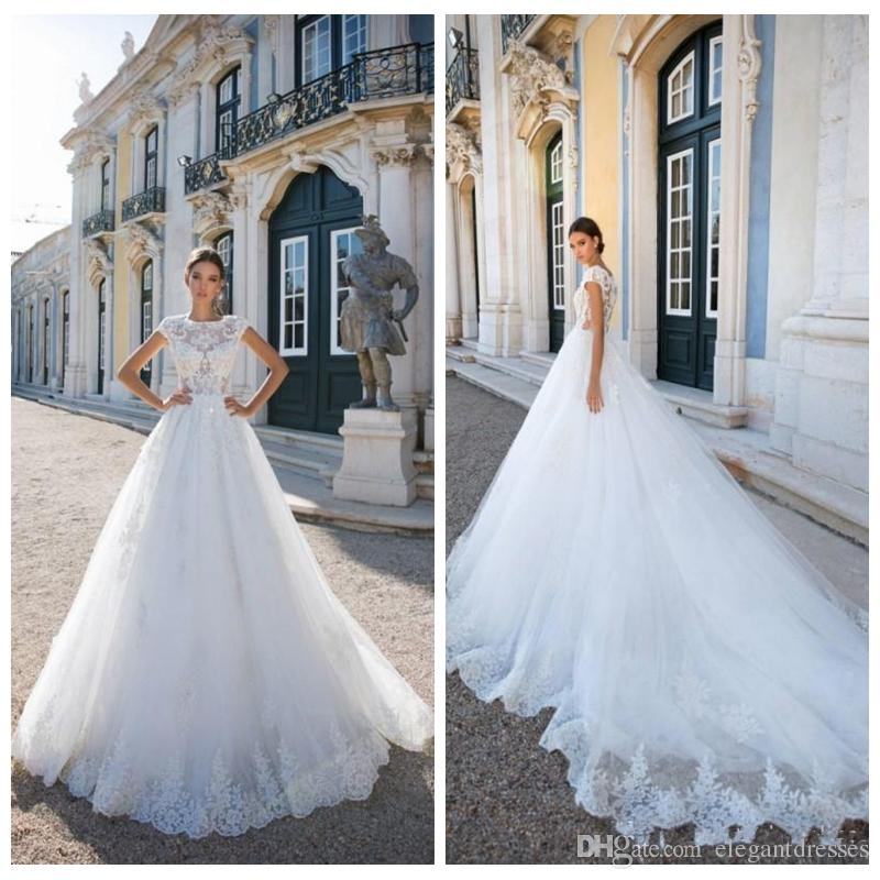 Discount Beautiful Princess Lace Wedding Dresses A Line Cap Sleeves