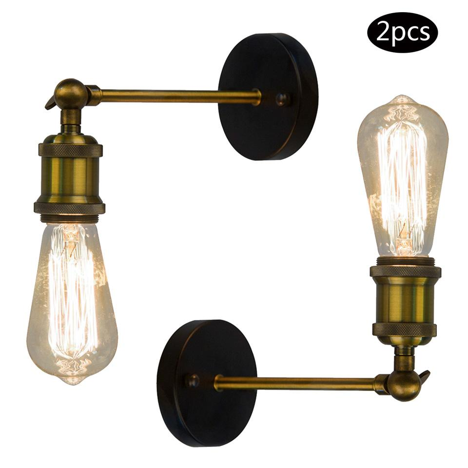 Lampe E27 2pack E27 Retro Vintage Iron Wall Lamp 40w Antique Lampe Lights Vintage Loft Adjustable Industrial Metal Wall Light