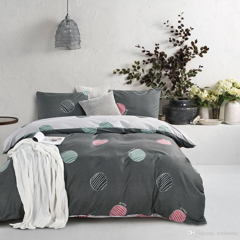 Quilt Cover King 2018 Sale Simple Style Boho 3pcs Duvet Cover Set Microfiber Fabric Circle Fun Home Bedding Set Twin Queen King Duvet Covers