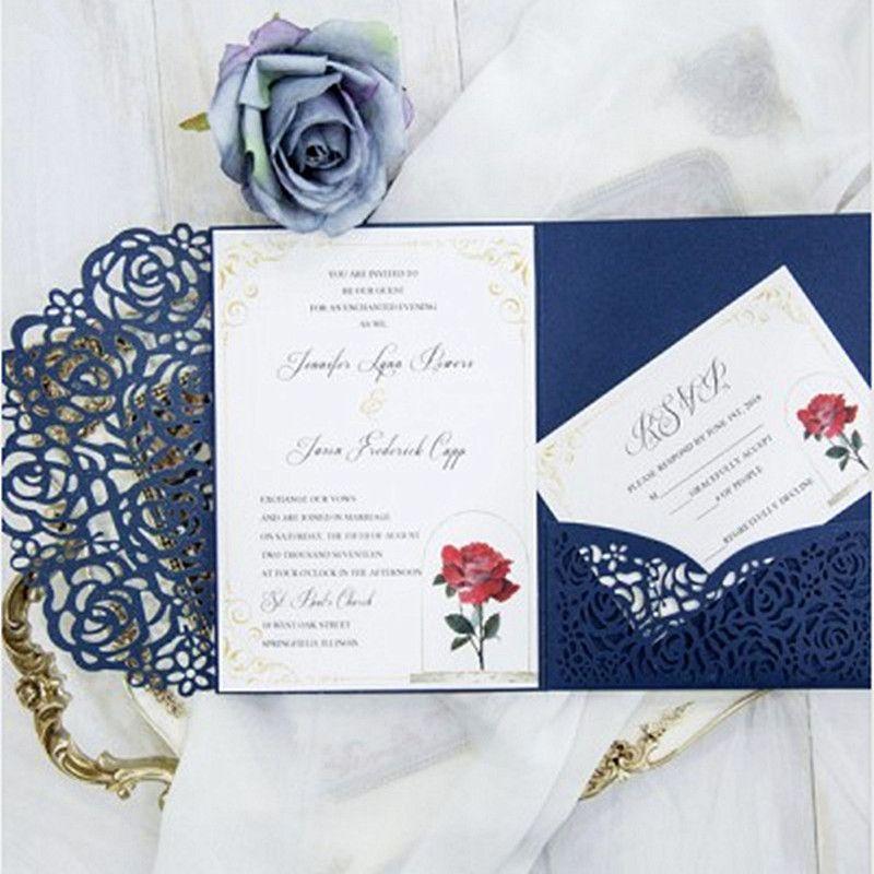 Tri Fold Pocket Wedding Invitation Card With Rsvp Envelope Navy Blue - wedding rsvp envelope size