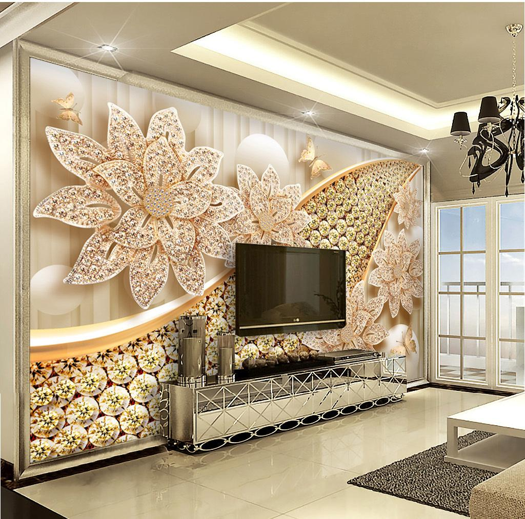 Wall Decoration Murale Custom Retail European Diamond Flower Jewellery 3d Indoor Tv Background Wall Decoration Mural